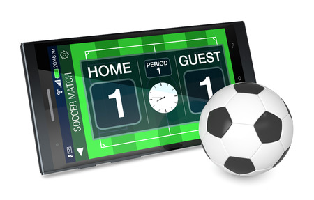 score board: smartphone with soccer field, a score board and a ball, concept of sport and new communication technology (3d render) Stock Photo