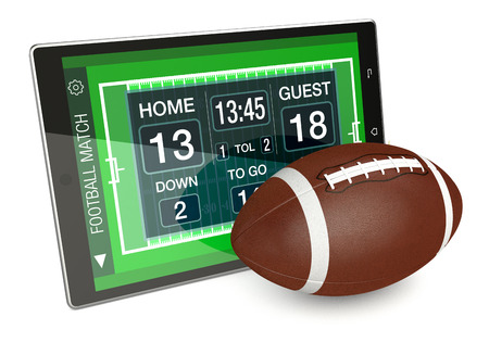 yardline: tablet pc with football field, a score board and a ball, concept of sport and new communication technology (3d render)
