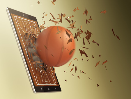tablet pc with basketball field and a ball coming out by breaking the glass, concept of sport and new communication technology (3d render) photo
