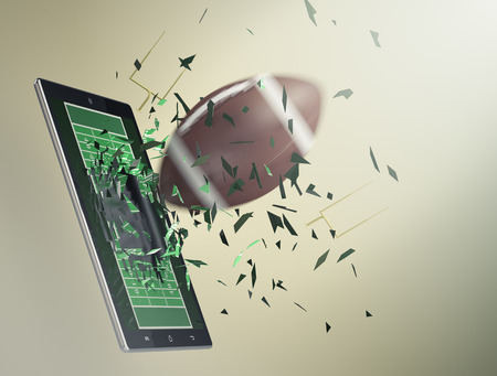 coming out: tablet pc with football field and a ball coming out by breaking the glass, concept of sport and new communication technology (3d render) Stock Photo