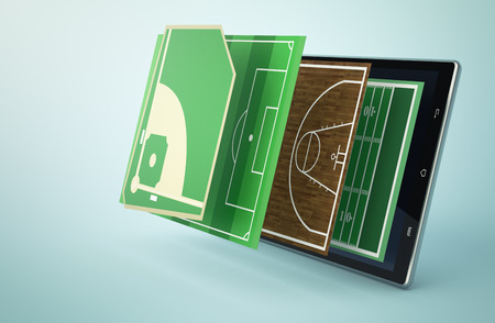 baseball diamond: tablet pc with a set of sport fields coming out, baseball, soccer, basketball and football (3d render)
