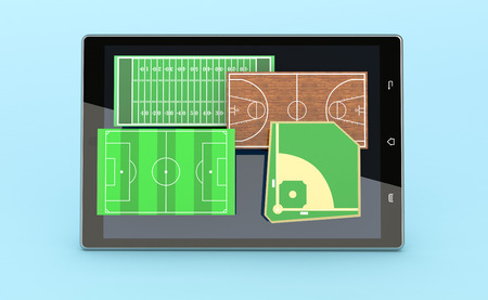 smart goals: front view of a tablet pc with a set of sport fields; baseball, soccer, basketball and football (3d render) Stock Photo