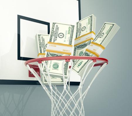 지폐의 스택과 함께 농구 농구, 스포츠, 돈, 또는 도박의 개념 (3d 렌더링)