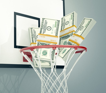 basketball hoop with stacks of banknotes, concept of sport and money, or betting (3d render)