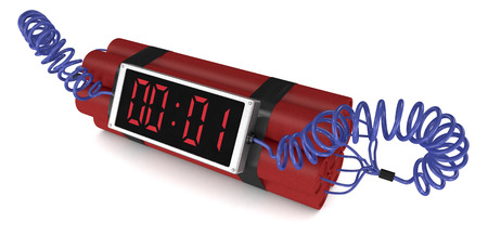 timebomb: time bomb with a digital clock on white background (3d render) Stock Photo