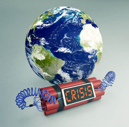 terrorism crisis: time bomb with a world globe, concept of world crisis (3d render) - Elements of this image furnished by NASA