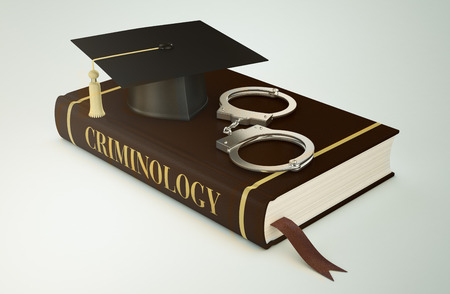 criminology: one book with a mortar board and handcuffs, concept of faculty of criminology (3d render)