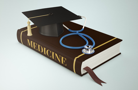 one book with a mortar board and stethoscope, concept of faculty of medicine (3d render) photo