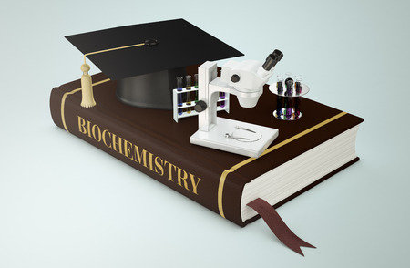 faculty: one book with a mortar board on microscope and sets of test tubes, concept of faculty of biochemistry (3d render)