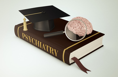 psychiatry: one book with a mortar board, a human brain and a magnifying glass, concept of faculty of psychiatry (3d render)