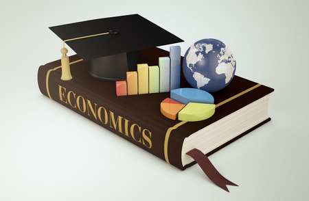 economics: one book with a mortar board, financial charts and a world globe, concept of faculty of economics (3d render) - Elements of this image furnished by NASA