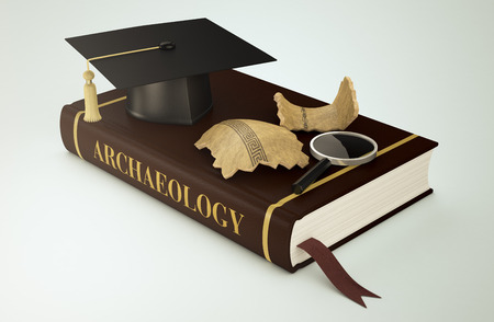 archaeologist: one book with a mortar board, antiquities and a magnifying glass, concept of faculty of archeology (3d render) Stock Photo