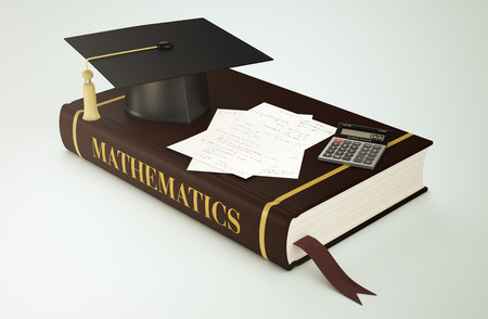 maths department: one book with a mortar board, sheets with formulas and an electronic calculator, concept of faculty of mathematics (3d render)