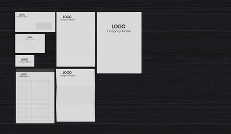 example: top view of a business paper set with corporate identity example and wood background (3d render)