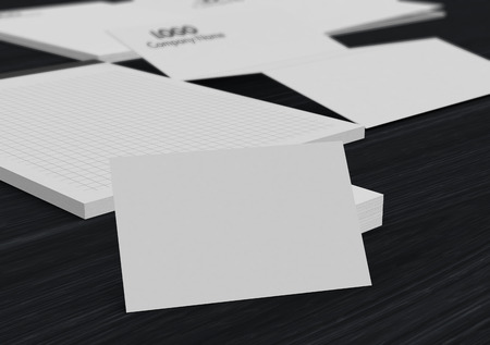 business space: business card with blank space and a business paper set on background (3d render)