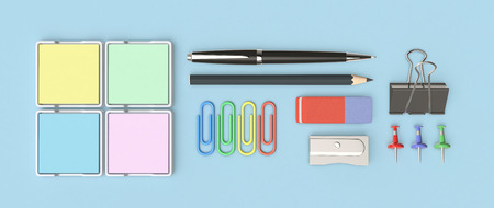 stationery items: top view of a set of stationery items (3d render)