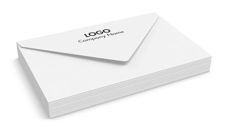 apilar: una pila de sobres blancos (3d) Foto de archivo