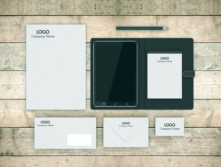 render: top view of a tablet pc with cover and a business paper set (3d render)