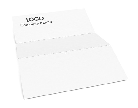 folded paper: folded paper sheet with corporate identity example (3d render) Stock Photo
