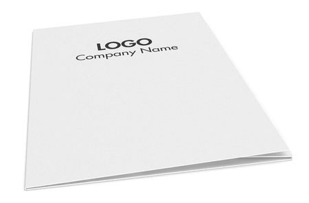 dossier: one paper folder with corporate identity example (3d render)