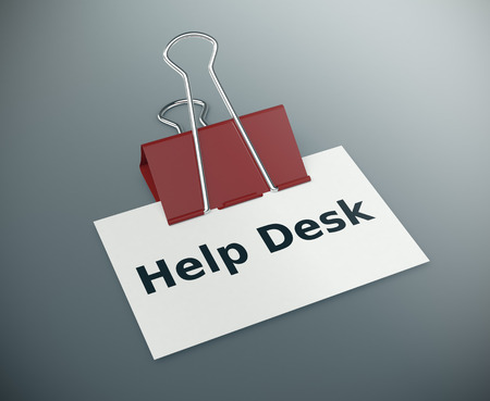 helpdesk: close up view of a paper clip with a business card and text: help desk (3d render)