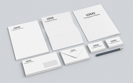 identity: one business paper set with corporate identity example (3d render)