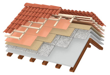 tile roof: cross-section of a house roof. All the layers are visible. thermal insulation, white background (3d render) Stock Photo