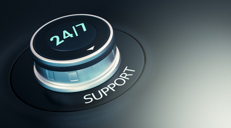 response time: knob with 247 text. Arrow pointing to the word: support (3d render)