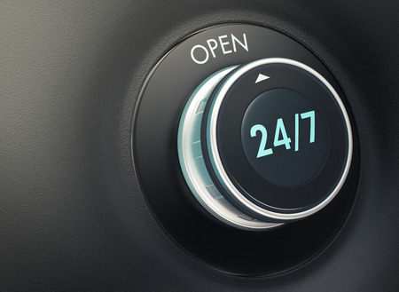 emergency number: knob with 247 text. Arrow pointing to the word: open (3d render)