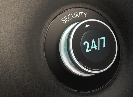 response time: knob with 247 text. Arrow pointing to the word: security (3d render) Stock Photo