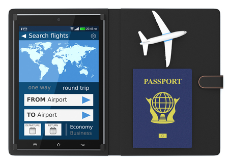 flight booking: tablet pc with a flight booking app, a passport and a small airplane on white background (3d render) Stock Photo
