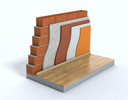 벽의 단면. 모든 레이어를 볼 수 있습니다. 열 절연 (3d 렌더링)