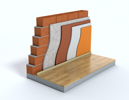 cross-section of a wall. All the layers are visible. thermal insulation (3d render) Archivio Fotografico