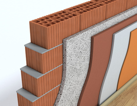 masonry: closeup view of cross-section of a wall. All the layers are visible. thermal insulation (3d render)