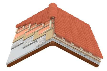 cross-section of a house roof. All the layers are visible. thermal insulation, white background (3d render) Archivio Fotografico