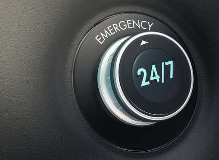 selector: knob with 247 text. Arrow pointing to the word: emergency (3d render) Stock Photo
