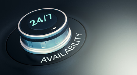 knob with 24/7 text. Arrow pointing to the word: availability (3d render)