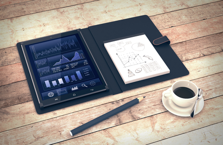 online trading: tablet pc with a financial app and a notepad with sketches, on wooden background (3d render) Stock Photo