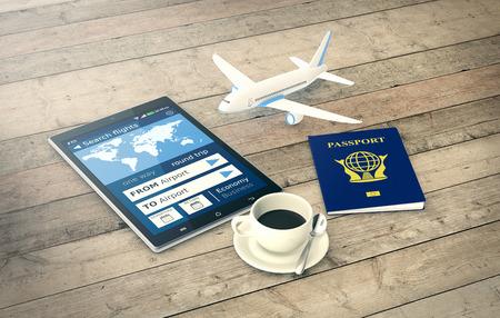 flucht: Tablet PC mit einem Flugbuchungs App, einen Reisepass und einem kleinen Flugzeug auf hölzernen Hintergrund (3d render)