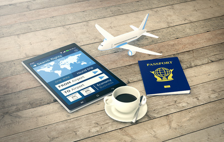 tickets: tablet pc with a flight booking app, a passport and a small airplane on wooden background (3d render)