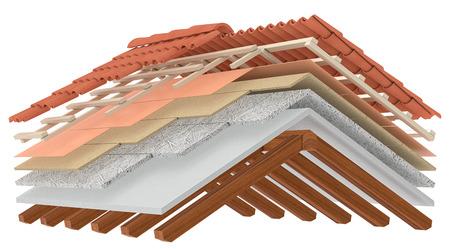 집 지붕의 단면. 모든 레이어를 볼 수 있습니다. 열 절연, 흰색 배경 (3d 렌더링)