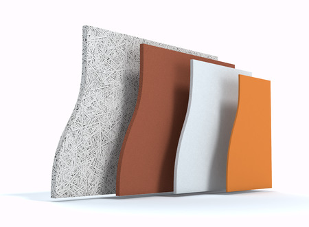isolation: panels for thermal insulation of a wall, all layers visible (3d render)