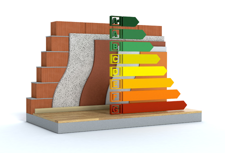 cross-section of a wall. All the layers are visible. thermal insulation. energy efficiency scale, concept of energy saving (3d render) Banco de Imagens