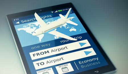 tablet pc with a flight booking app and a small airplane (3d render)