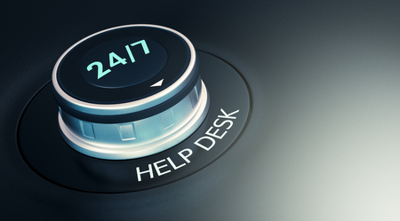 response time: knob with 247 text. Arrow pointing to the word: help desk (3d render)