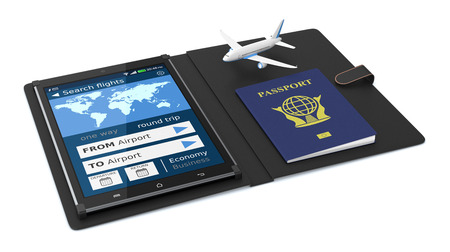 flight: tablet pc with a flight booking app, a passport and a small airplane on white background (3d render) Stock Photo