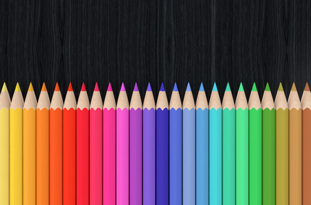coloured: front view of a set of colored pencils with blank space on top (3d render)