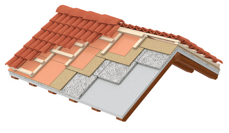 cross-section of a house roof. All the layers are visible. thermal insulation, white background (3d render) Banco de Imagens
