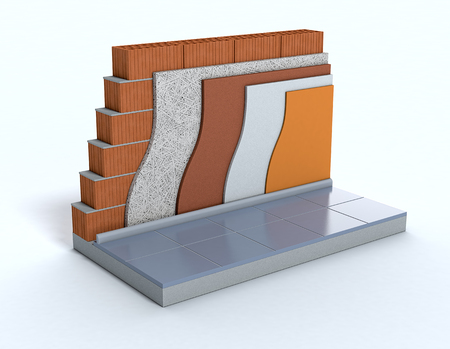 building materials: cross-section of a wall. All the layers are visible. thermal insulation (3d render) Stock Photo