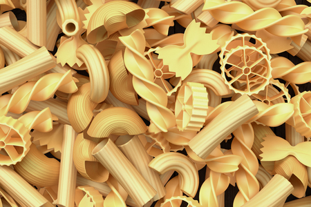 different shapes: closeup view of a bunch of different shapes of pasta (3d render) Stock Photo